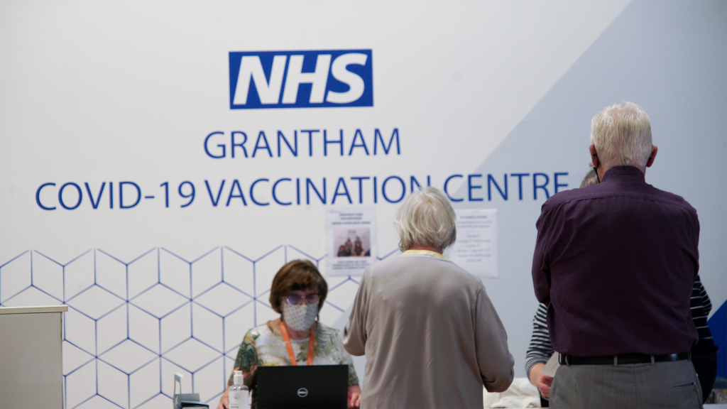 People arriving for their booster vaccinations at the Meres Local Vaccination Centre (LVC), Grantham.